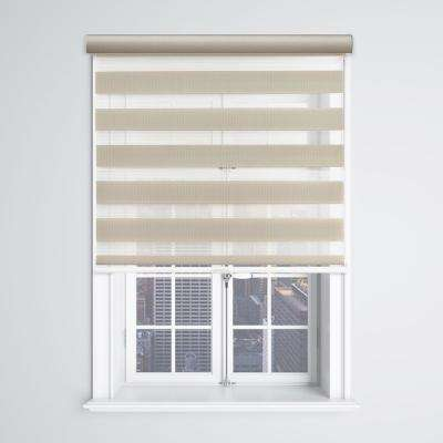 Modern Free Stop Cut-to-Size Latte Cordless Light Filtering Zebra Roller Shade with Cassette Valance 46 in. W x 72 in. L
