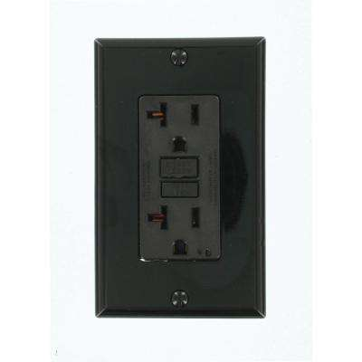 20 Amp Self-Test SmartlockPro Slim Duplex GFCI Outlet, Black