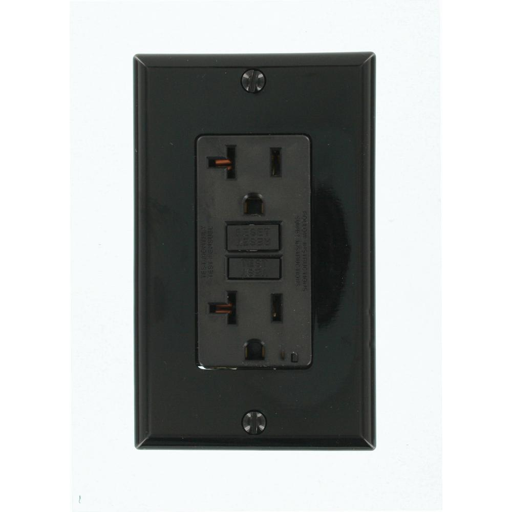 leviton 20 amp smartlockpro gfci outlet black gfnt2 e the home depot. Black Bedroom Furniture Sets. Home Design Ideas