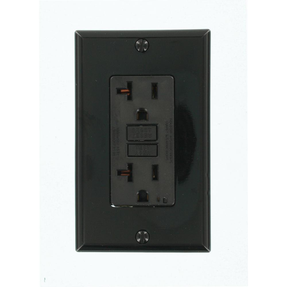 20 Amp SmartlockPro GFCI Outlet, Black