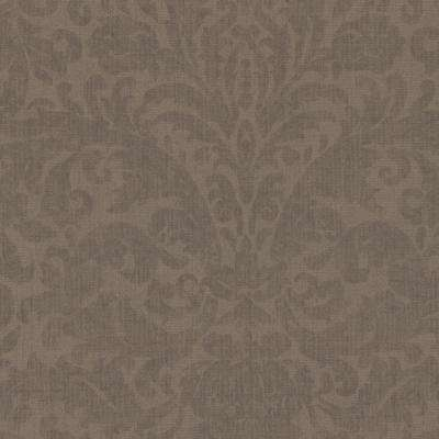 Twill Brown Damask Wallpaper