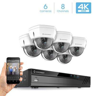 Plug & Play H.265 8-Channel 4K NVR 8MP Surveillance System with 6 Wired POE Dome Cameras with 98 ft. Night Vision
