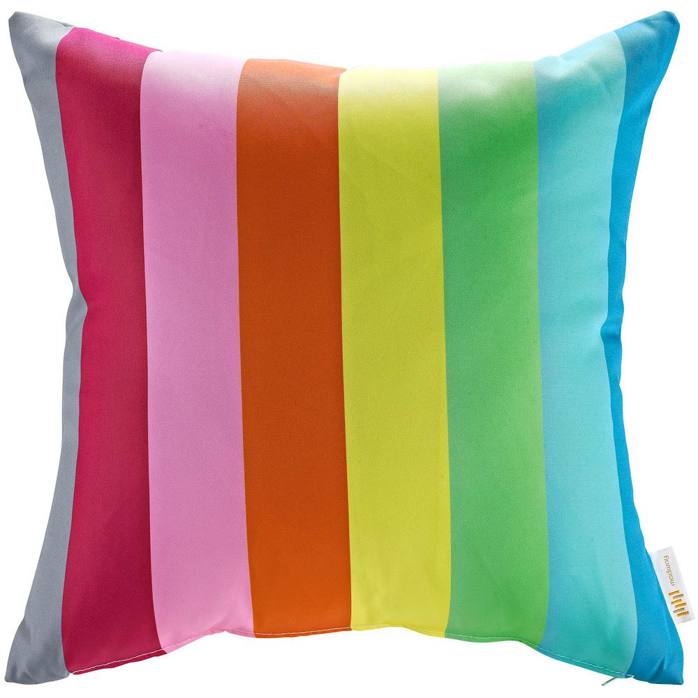 Square Outdoor Throw Pillow in Rainbow