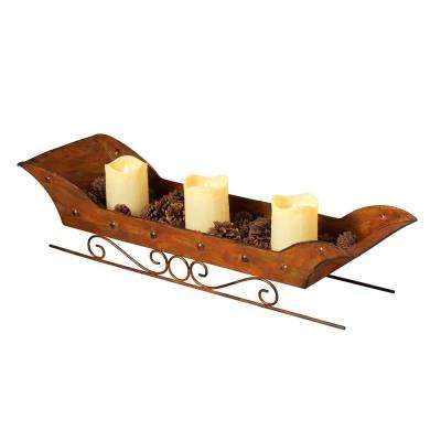 25.25 in. L Metal Sleigh Candle Holder