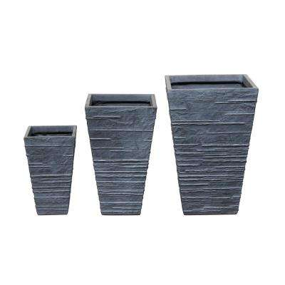 16 in. Clay Modern Tepered Fiber Planter (Set of 3)