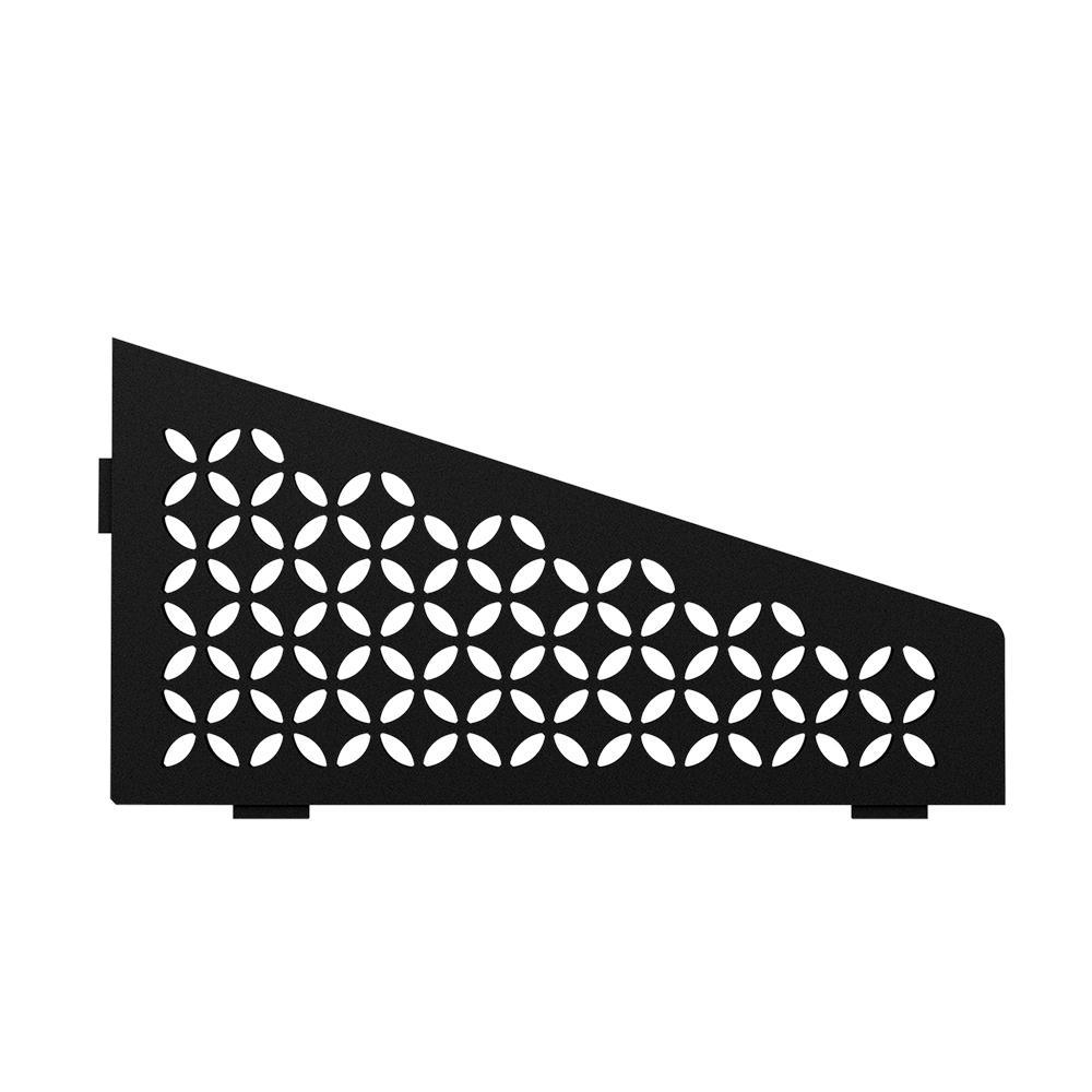 Shelf-E Matte Black Coated Aluminum Floral Quadrilateral Corner Shelf