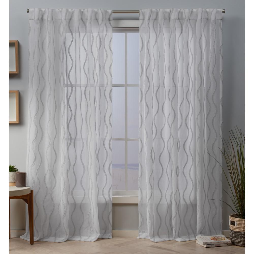 Belfast 54 in. W x 84 in. L Sheer Hidden Tab Top Curtain Panel in Dove Gray (2 Panels)