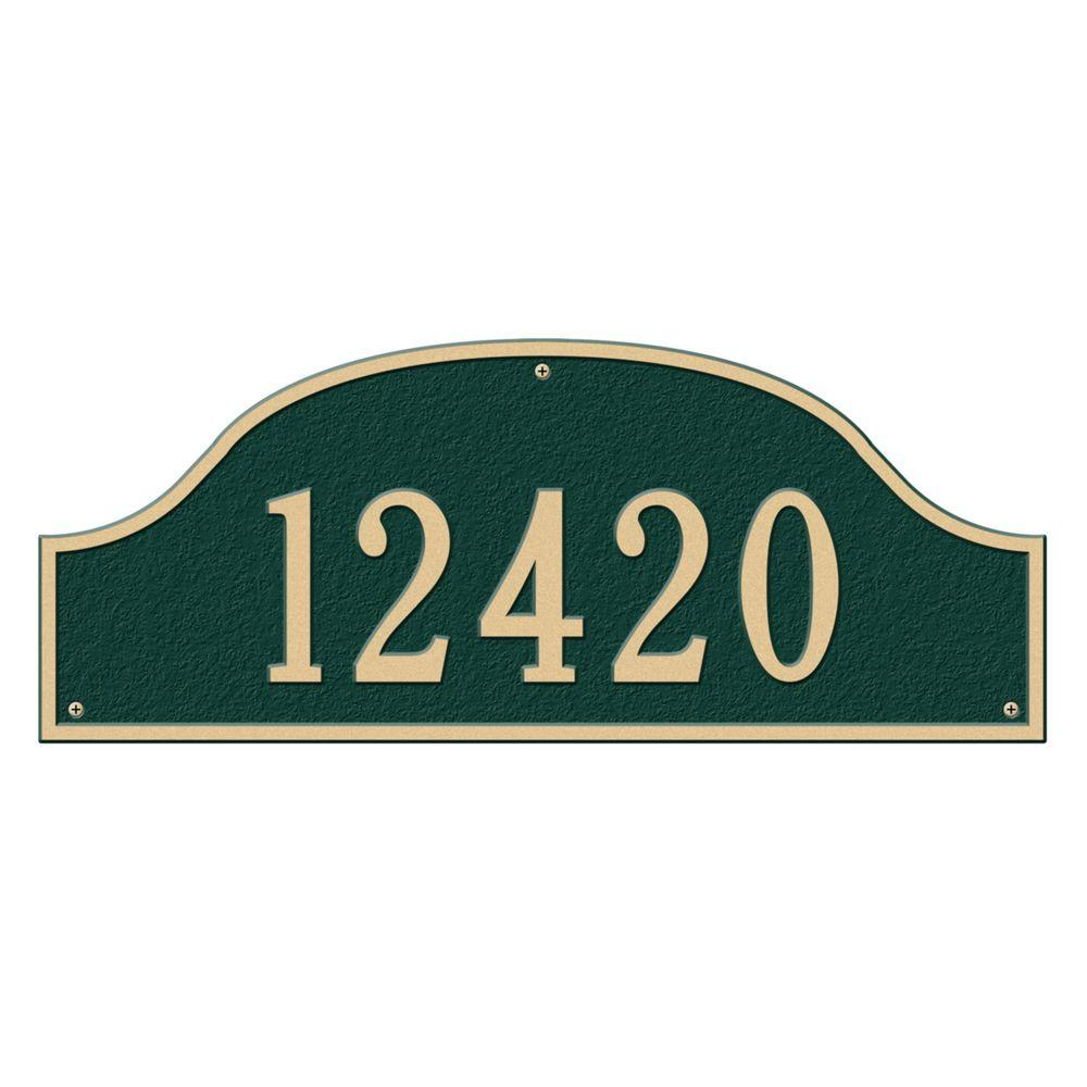 Admiral Estate Arch Green/Gold Wall One Line Address Plaque
