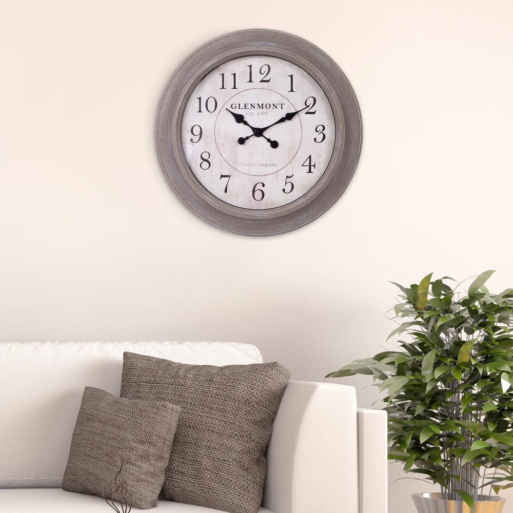 Weathed Wood Brown Wall Clock