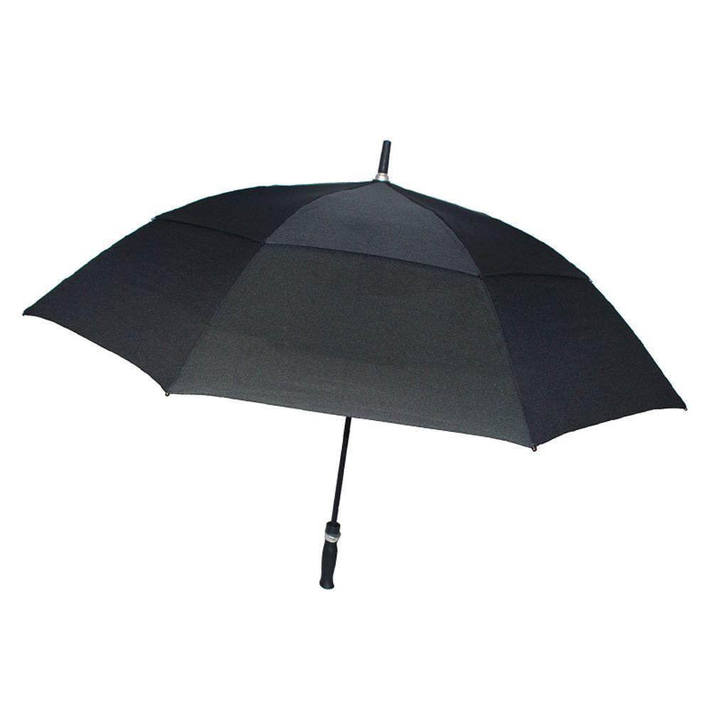 62 in. Arc Windguard Auto Open Golf Umbrella in Black