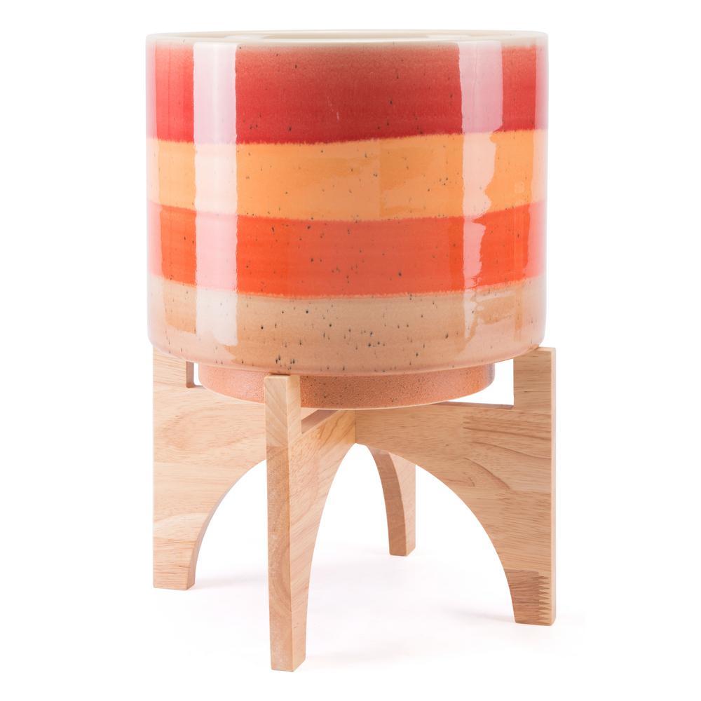 10.6 in. W x 14.6 in. H Orange Ceramic Planter