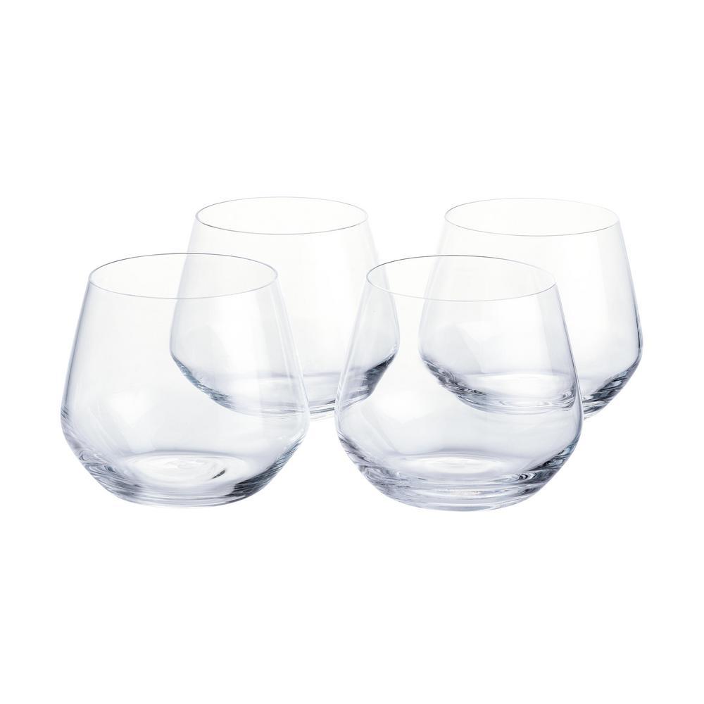 Genoa 18.5 fl. oz. Lead-Free Crystal Stemless Wine Glasses (Set of 4)