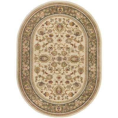 Sensation Beige 7 ft. x 10 ft. Oval Traditional Area Rug
