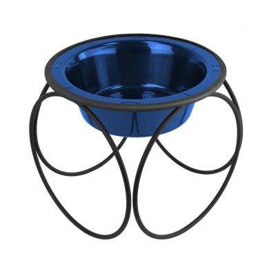 3.5 Cup Olympic Single Diner Feeder with Dog Bowl, Sapphire Blue