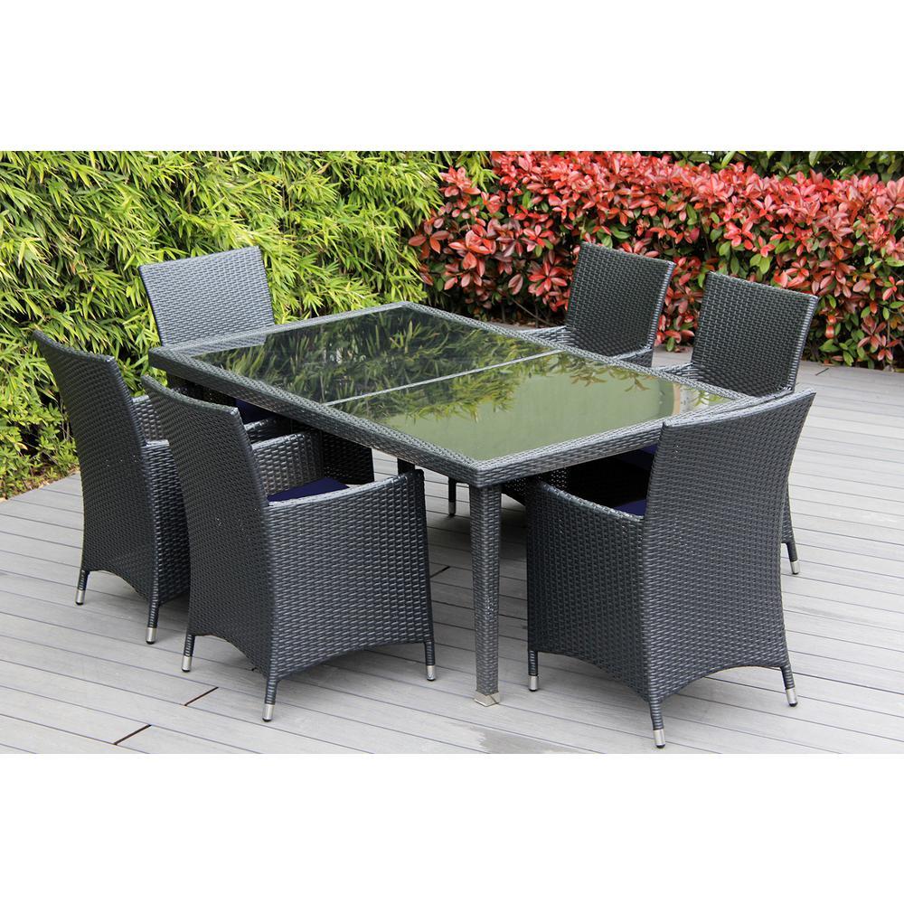 Black 7-Piece Wicker Patio Dining Set with Sunbrella Navy Cushions