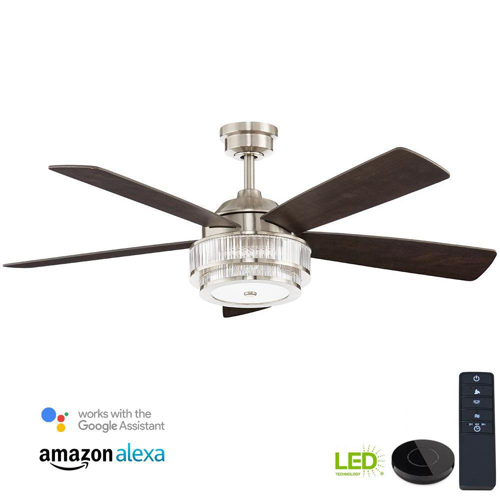 Home decorators collection caldwell 52 in led brushed nickel ceiling fan works with google assistant