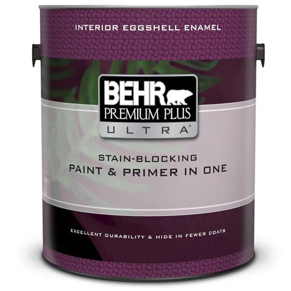BEHR Premium Plus Ultra 1 gal. Ultra Pure White Eggshell Enamel Interior Paint and Primer in One