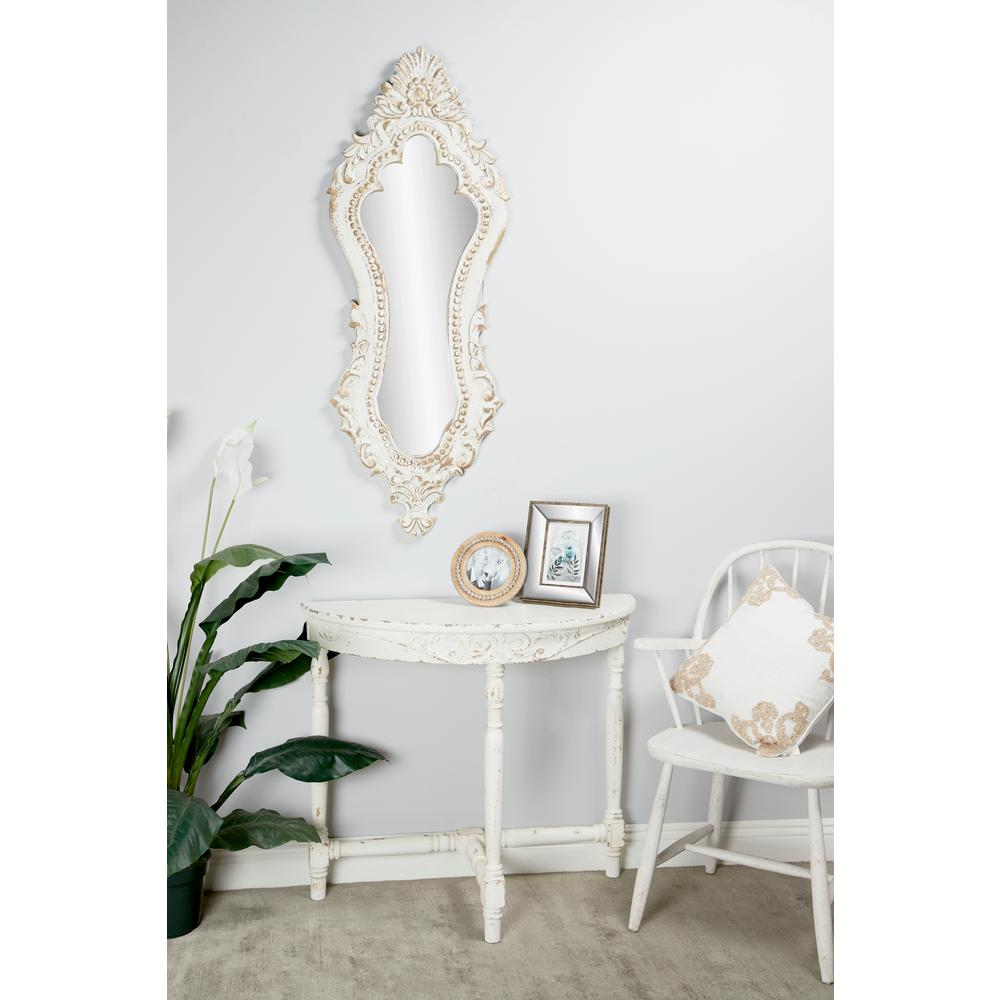 Litton Lane Antique Style Extra Large Oval Distressed White Wall Mirror With Carved Acanthus Designs 35472 The Home Depot