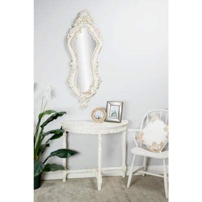 Antique Style Extra Large Oval Distressed White Wall Mirror with Carved Acanthus Designs
