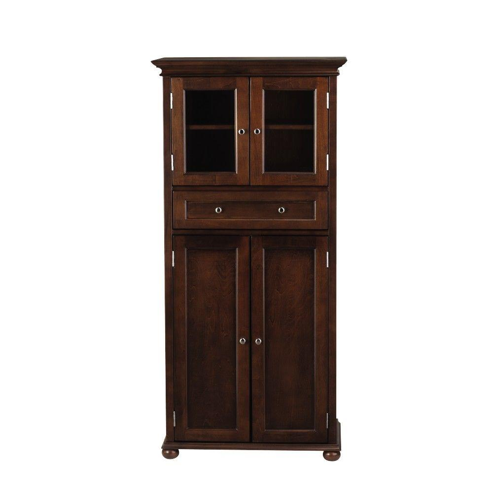 Hampton Harbor 25 in. W 4-Door Tall Cabinet in Sequoia