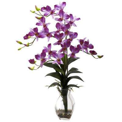 Dendrobium Orchid with Vase Arrangement in Purple