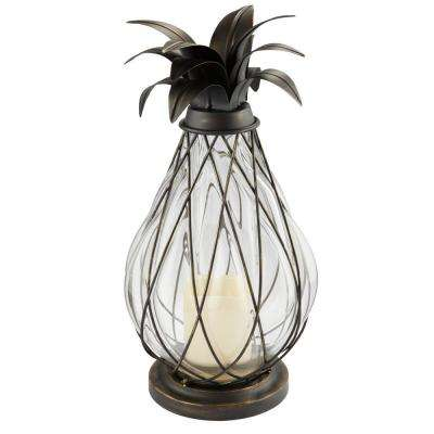 17 in. Aged Bronze LED Candle Pineapple Lantern