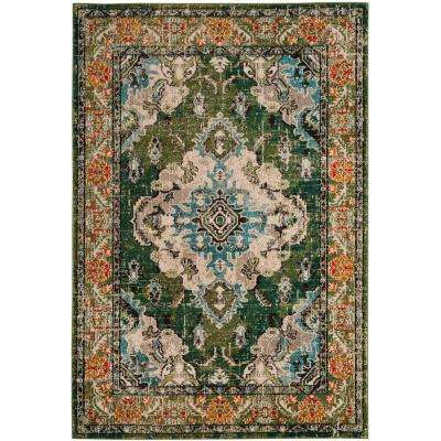 Monaco Forest Green/Light Blue 8 ft. x 10 ft. Area Rug