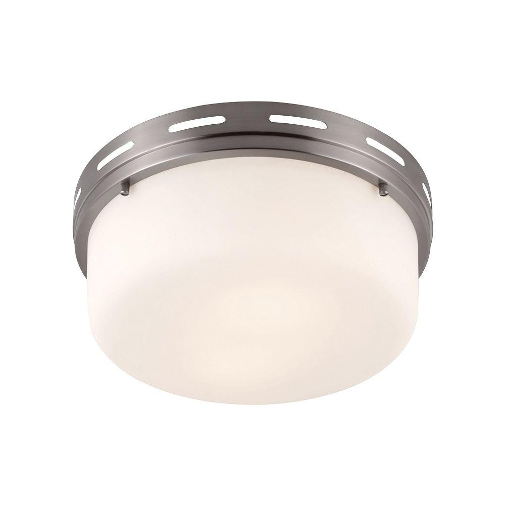 Feiss Manning 2-Light Brushed Steel Flushmount