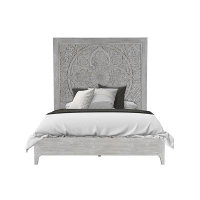 Boho Chic White Washed White King Platform Bed with Carved Headboard