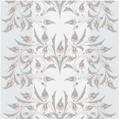 Debut Collection Peacock Flowers in Silver Rose Removable and Repositionable Wallpaper
