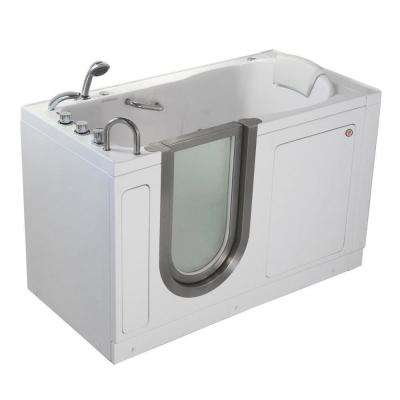 Deluxe 55 in. Acrylic Walk-In Whirlpool Bathtub in White with Thermostatic Faucet Set, Heated Seat, LH 2 in. Dual Drain