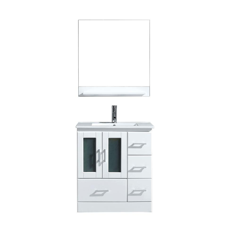 Virtu USA Zola 30 in. W Bath Vanity in White with Ceramic Vanity Top in Slim White Ceramic with Square Basin and Mirror and Faucet