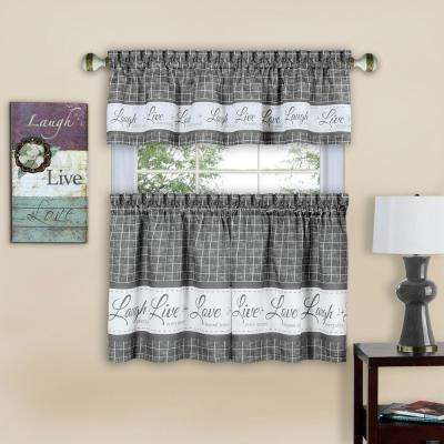 Live, Love, Laugh 58 in. W x 36 in. L Grey Polyester Tier and Valance Curtain Set