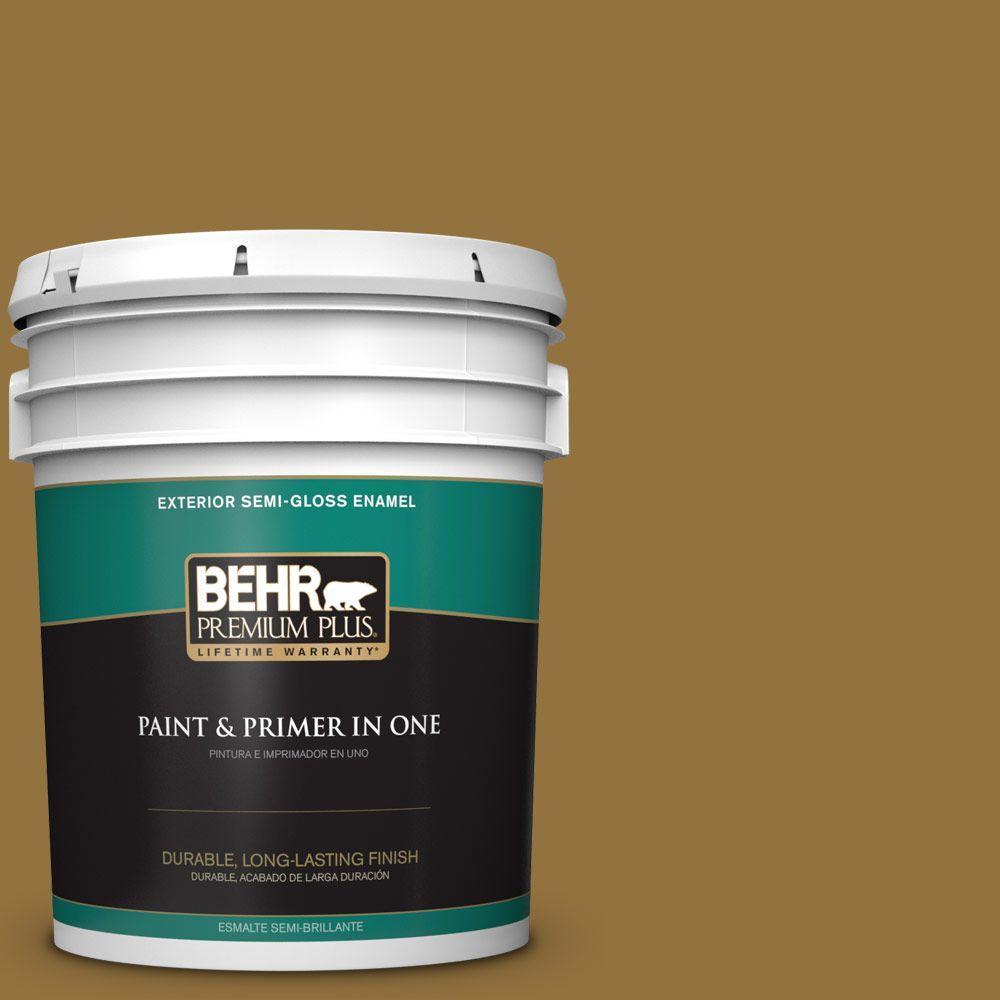 5-gal. #350D-7 Cattail Brown Semi-Gloss Enamel Exterior Paint