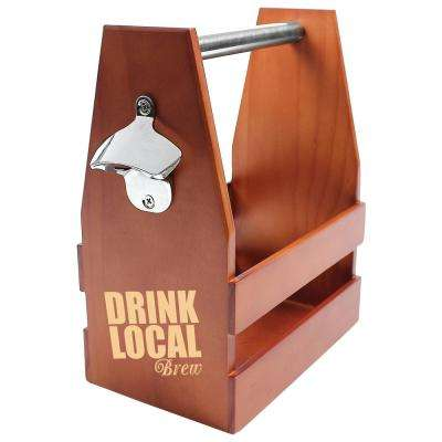 """Drink Local"" Wooden Craft Beer Carrier"