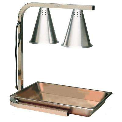 2-Bulb Adjustable Heat Lamp with SS Pan and Screen and Flared Shade