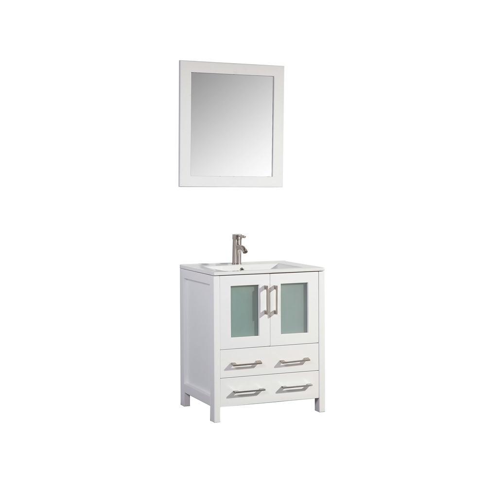 Vanity Art Brescia 30 in. W x 18 in. D x 36 in. H Bath Vanity In White with Vanity Top in White with White Basin and Mirror