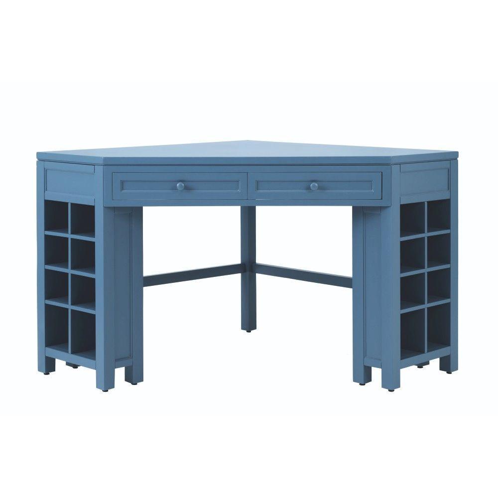 Martha Stewart Living Craft Space 58 in. W 16-Cubby Wood Corner Craft Table in Mariner
