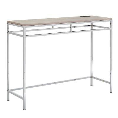 Chrome Counter Height Desk With Faux Marble Top and Usb Charging Port