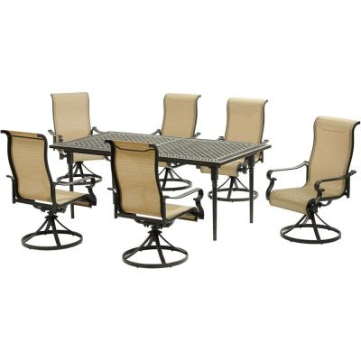 Brigantine 7-Piece Aluminum Outdoor Dining Set with an Expandable Cast-Top Aluminum Table and 6-Swivel Rockers