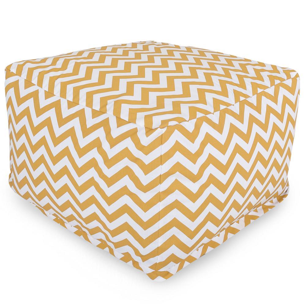 Majestic Home Goods Yellow Chevron Indoor/Outdoor Ottoman Cushion