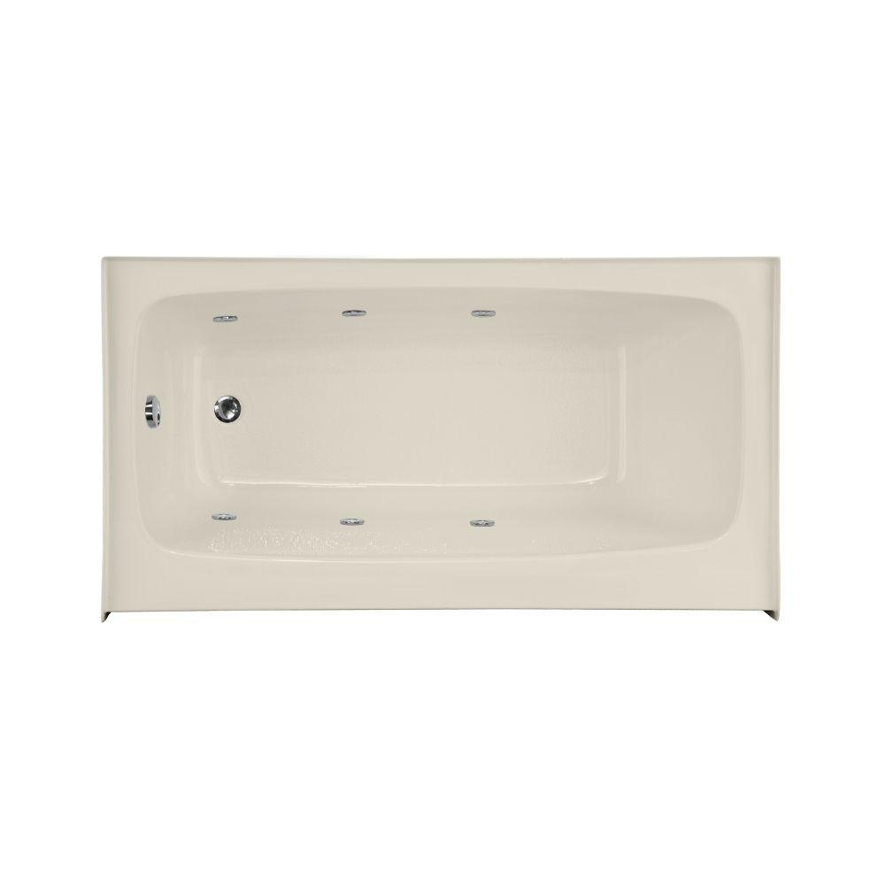 Trenton 5.5 ft. Left Drain Shallow Depth Whirlpool Tub in Biscuit