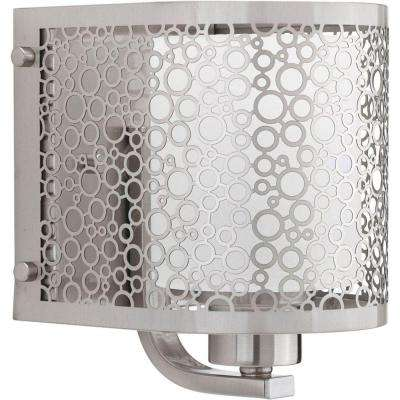 Mingle Collection 1-Light Brushed Nickel Bath Sconce with Etched Parchment Glass Shade