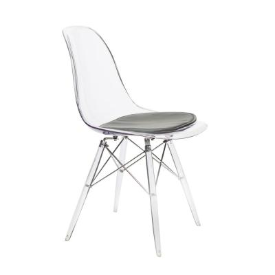 Banks Clear Side Chair with Dark Gray Cushion