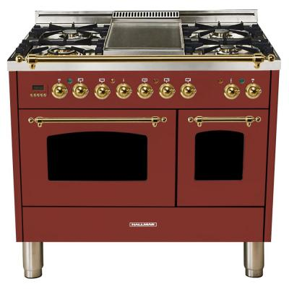 40 in. 4.0 cu. ft. Double Oven Dual Fuel Italian Range True Convection, 5 Burners, Griddle, LP Gas, Brass Trim/Burgundy