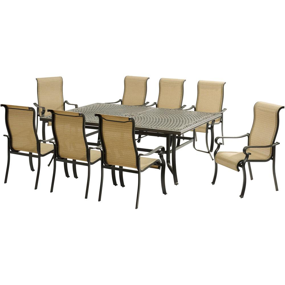 Hanover Brigantine 9 Piece Aluminum Outdoor Dining Set With An XL Cast Top  Table