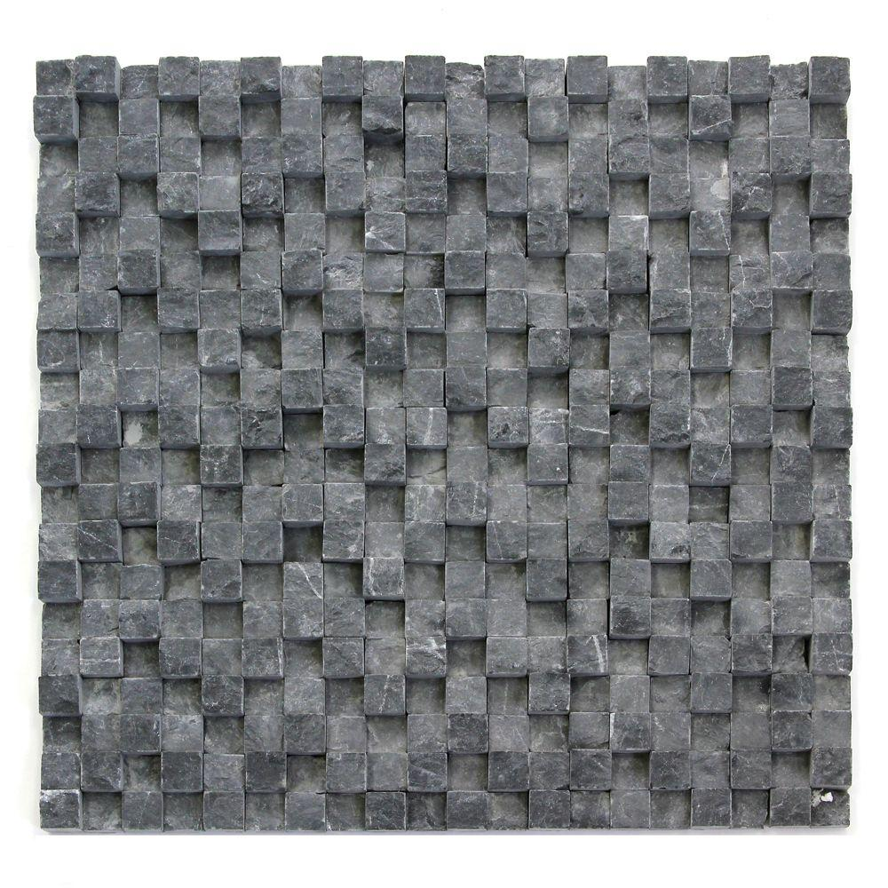 Solistone Cubist Gris 12 in. x 12 in. x 22.2 mm Marble Mesh-Mounted Mosaic Tile (5 sq. ft. / case)