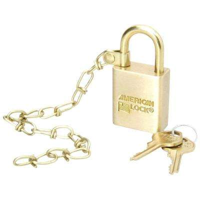 Solid Brass Case Padlock with Chain