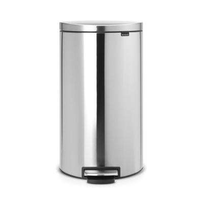 8 Gal. Matt Steel Fingerprint Proof  Flatback+ Step-On Trash Can