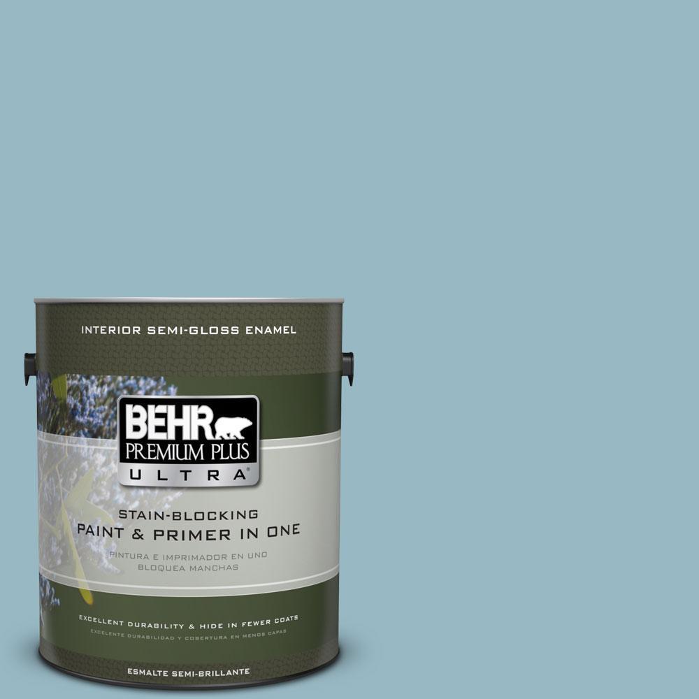 BEHR Premium Plus Ultra 1 gal. #PPU13-9 Tahoe Blue Semi-Gloss Enamel Interior Paint and Primer in One